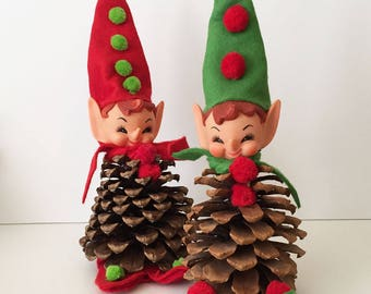 Vintage Pine Cone Pixie Elves Restored, Christmas Decorations, Christmas Elf, Christmas Pixie, Holiday Table, Vintage Pixie 17-40