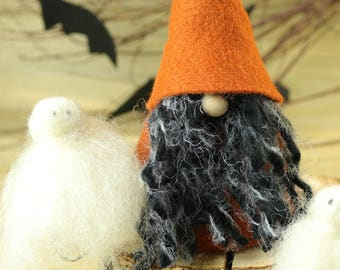 Boo! Halloween Gnome and Ghost, Halloween Table, Gnome, Nordic Gnomes, Scandinavian, Halloween Decorations, Black Orange, Trick-or-Treat