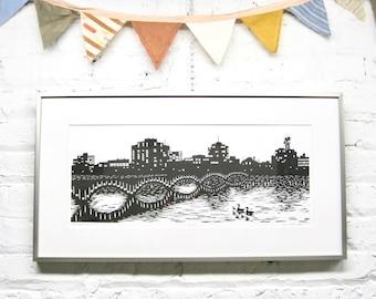 Color Test Proof LOCAL DELIVERY Woodblock Print FRAMED Rockford Skyline Artist Proof