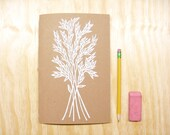 Sketchbook Journal - White Wheat Grass Plant - White Ink - Coloring Book - Block Printed - Hand Bound