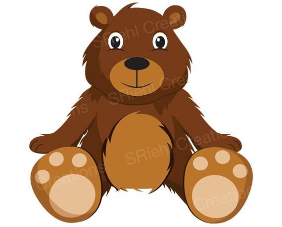 teddy bear clipart cute bear clip art digital download | etsy  etsy