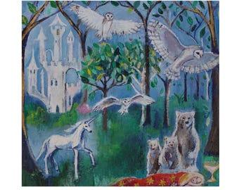 Original Fairytale Art, Fairytale oil painting, Conte de Fée, Goldilocks and the Three Bears Painting, 8 x 8 x 1,  oil on canvas paintings
