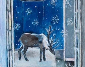 Reindeer in Italian room with Snowflakes. Reindeer Painting, Original fairytale oil on canvas painting by Romany Steele. 6.5  x 4.5 inches.