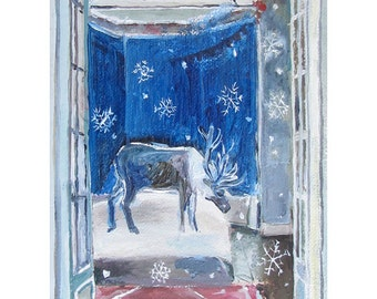Reindeer Card, 5.6 x 4 inches, original fairytale card by Romany Steele