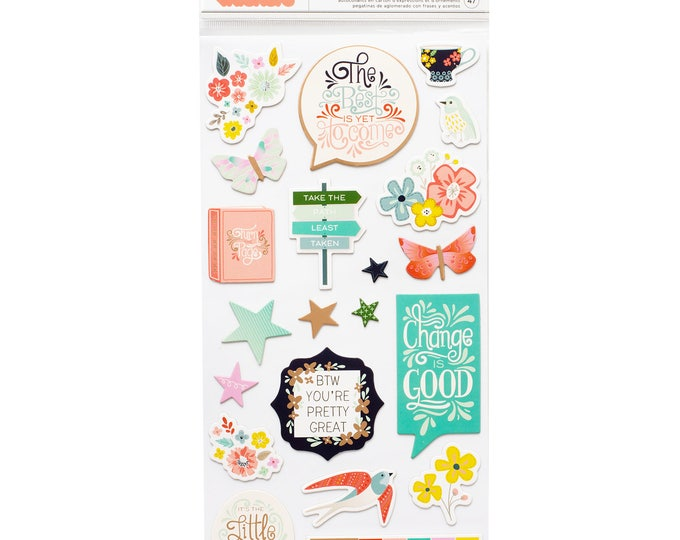 Turn the page paige Evans thicker chipboard stickers