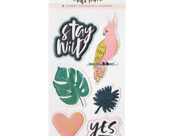 Wild heart by crate paper embossed puffy stickers