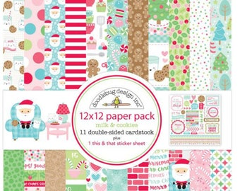 Doodlebug milk and cookies 12x12 paper pack