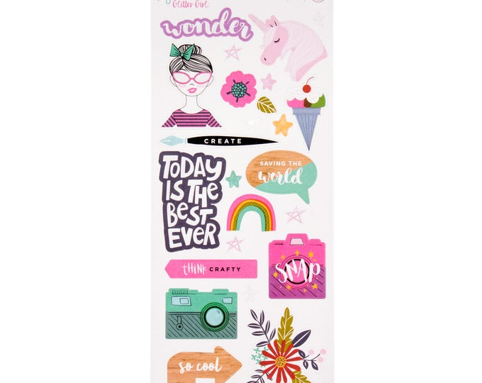 Shimelle glitter girl 6x12 sticker sheet