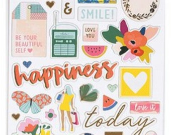 Pick me up by page Evans chipboard stickers