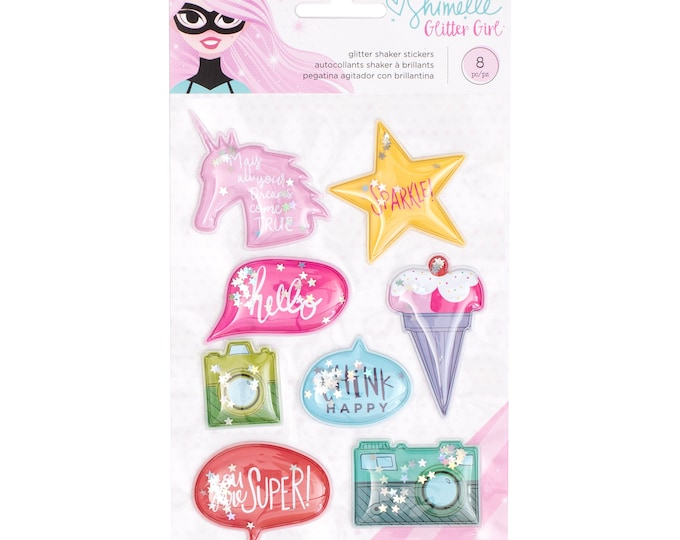 Shimelle glitter girl-glitter/shaker inflated stickers