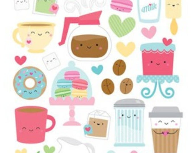 Doodlebug cream and sugar icon stickers