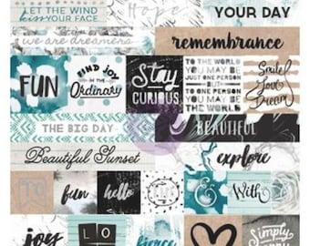 Prima zella teal word sticker sheets