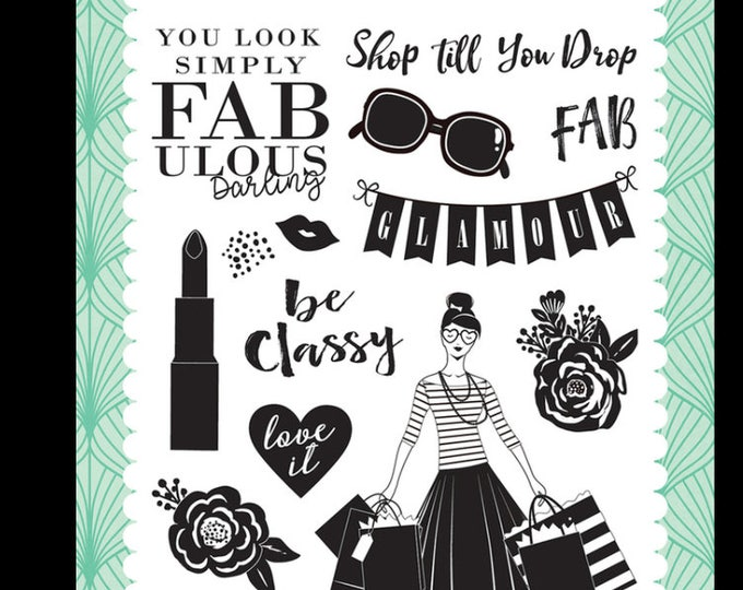 Fashionista simply fabulous 4x6 stamp set