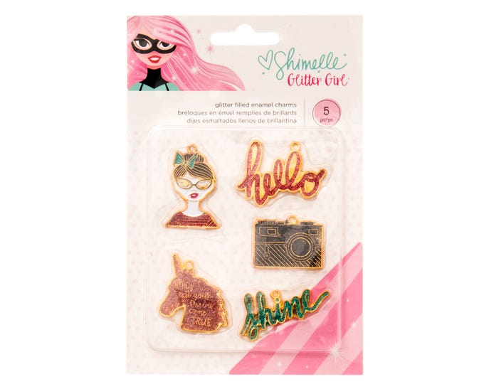 Shimelle glitter girl-glitter filled charms