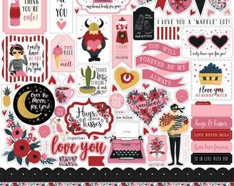 Hello sweetheart by carta bella 12x12 sticker sheet