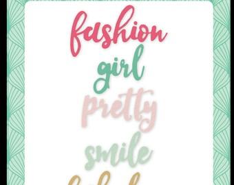 Fashionista word die set