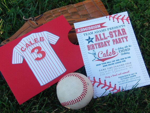 CUSTOMIZED Baseball Birthday Party Handmade Invitiation