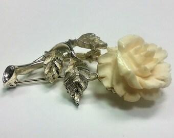 Lisner Brooch/Rose Brooch/Carved Bone Brooch