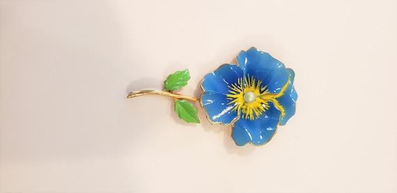 Pansy Brooch/Flower Brooch/Enamel Brooch/Gold Bro… - image 3