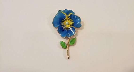 Pansy Brooch/Flower Brooch/Enamel Brooch/Gold Bro… - image 1