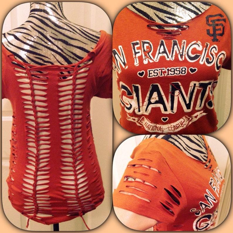 67c28be1 San Francisco Giants shredded cut shirt   Etsy