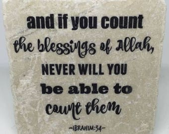 And if you count the blessings of Allah.... - | Little Reminder | Tile Art | Marble | Quran | Ayah | Verse | Eid | Ramadan | Islamic |