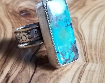 Turquoise ring rectangle shape hubei turquoise ring textured band, Turquoise ring sterling silver, Turquoise ring for women, bao canyon ring
