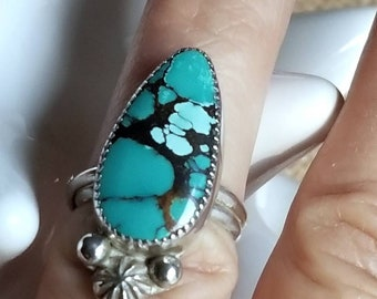 Turquoise ring pear shape hubei turquoise ring overlapping band, Turquoise ring sterling silver, Turquoise ring for women, bao canyon ring