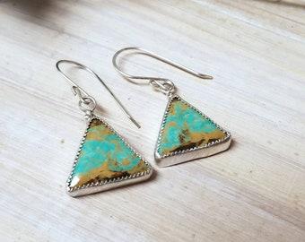 Triangle turquoise dangle earrings, triangle Tyrone turquoise dangle earrings. Turquoise dangle earrings for her, silver triangle earrings