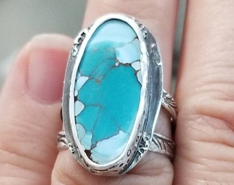 Turquoise ocean ring gobi hubei turquoise ring double band, Turquoise ring sterling silver, Turquoise ring for women, gobi  ring, turquoise
