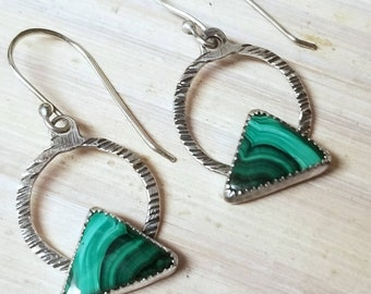 Triangle green dangle earrings, triangle malachite dangle earrings. Green dangle earrings for her, silver triangle Malachite earrings