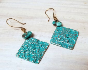 Dangle bronze earrings, textured bronze earrings, 8th anniversary gift, bohemian earrings, turquoise bronze earrings, beach earrings