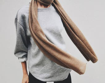 Camel merino wool scarf, knitted scarf, merino scarf, merino wrap