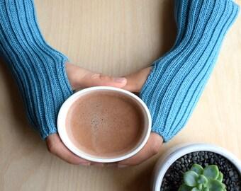 Aqua Blue Wool Wrist Warmers / Fingerless Mittens, wool mittens, merino wool gloves, gift for teacher, girlfriend gift, best friend gift