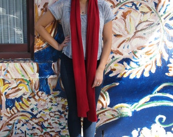 Red wool scarf / wrap, red scarf, merino scarf