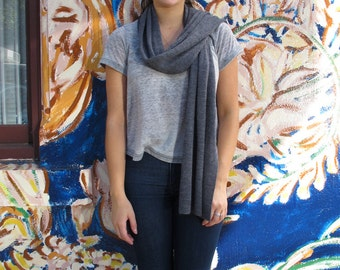 Dark grey wool scarf / wrap
