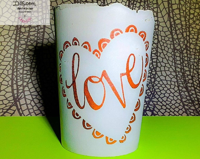 LOVE Copper metallic Hand painted - 4 inch cement handmade planter