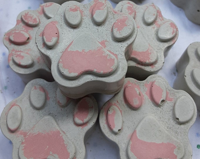 Pink Puppy Paw Magnet Cement 1 inch set of 4 fridge office auto handmade