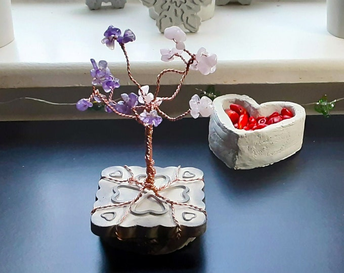 Hearts - Gemstone Wire Bonsai Tree. Amethyst and Rose Quartz. 3 inch wide by 7 inch tall. On cement stand with hearts embossed.