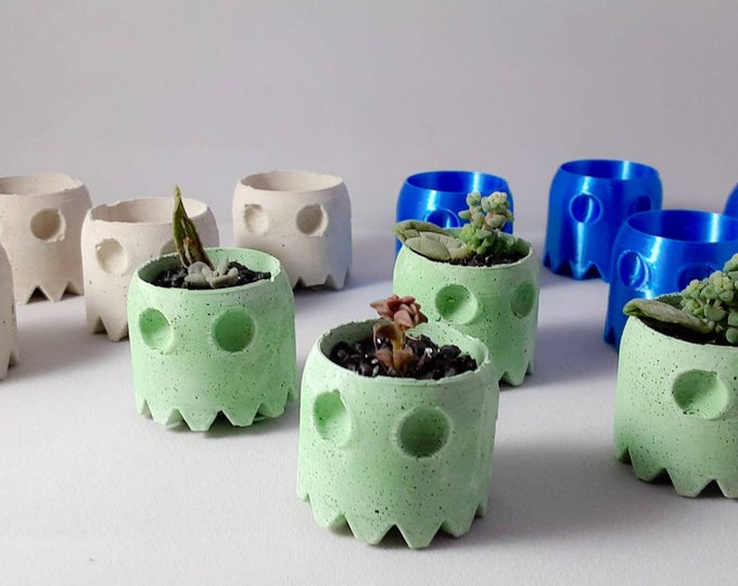 Pacman Ghost set of 4 Mini Planters. Cement Art. 3D Print