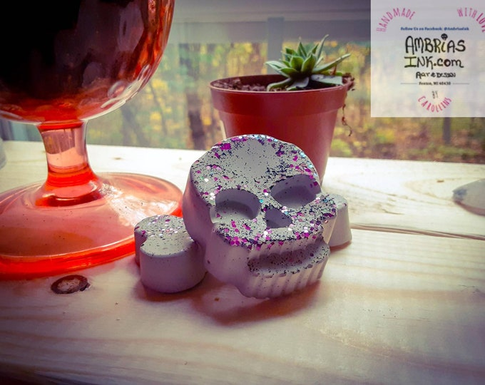 Skull n Bone Stones  Set of 2 - Cement Handmade - RAW / Unfinished, Non-Toxic. Indoors / Outdoors. Aquarium, Terrarium, Decoration