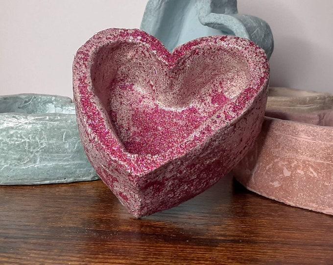 Fuchsia Glitter Heart Cement Succulent Pot Handmade Planter 3 inch Sealed