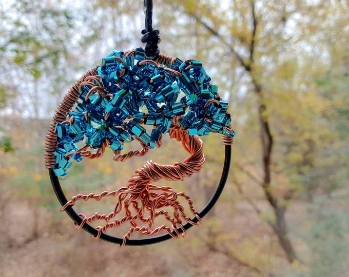 Tree of Life - Wire Handmade. 2 Inch. Pendant. Window. Car. Home.