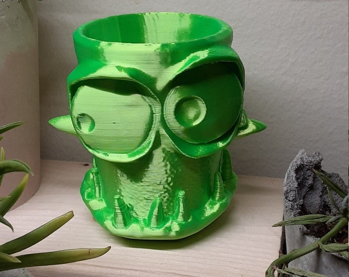 Monster Pot - 3D Print planter Succulents / Air Plants 3 inch SILK GREEN