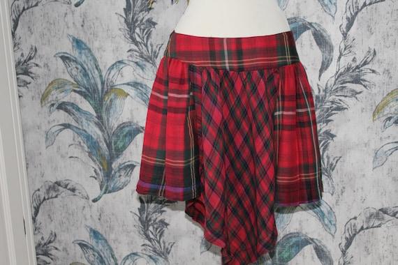Tartan boho skirt