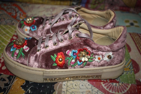 Pink Velvet Embroidered Shabby Chic Vintage shoes