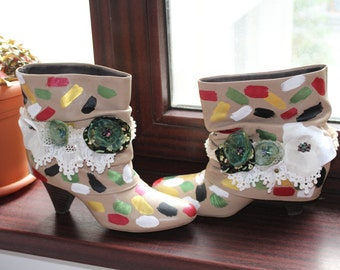 Leather Shabby Chic Boots, handpainted leather autumn boots, 100% leather cotton lace boots ,,Garden at your feet! ,,