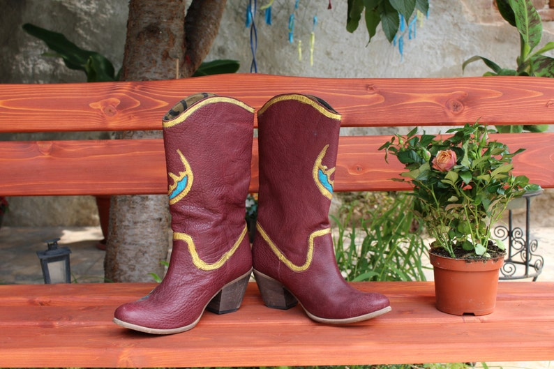 Leather Booties brown gold turquoise Country Boots . handpainted leather western boots 100/% leatherCowboy boots Art at your feet