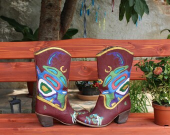 Leather Booties brown gold turquoise Country Boots.  handpainted leather western boots, 100% leatherCowboy boots Art at your feet! .
