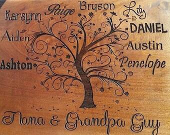 Family Tree - Custom Sapele Cutting Board